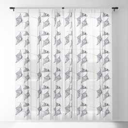 Manta ray devil fish Sheer Curtain