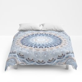 Serenity Mandala in Blue, Ivory and White on Textured Background Comforters