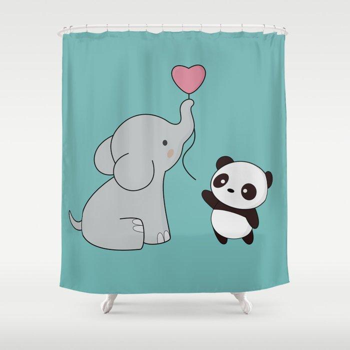 Kawaii Cute Elephant And Panda Shower Curtain
