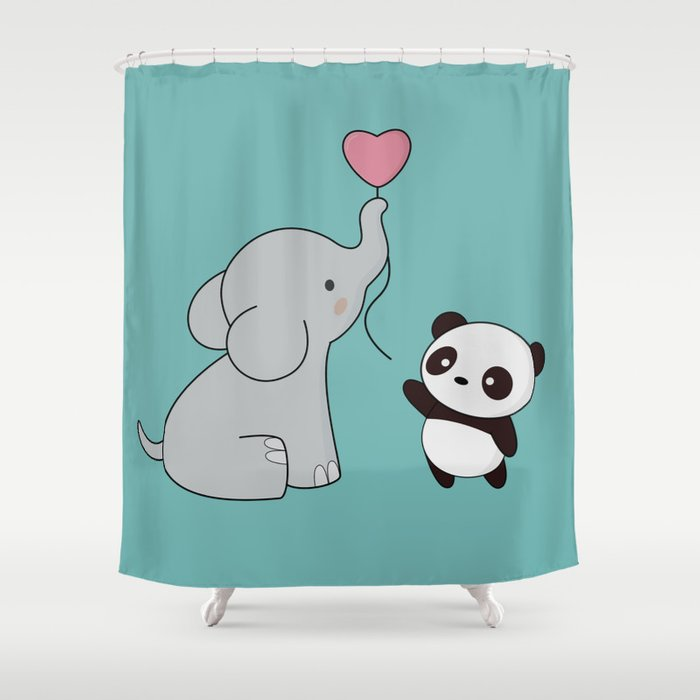 Kawaii Cute Elephant And Panda Shower Curtain