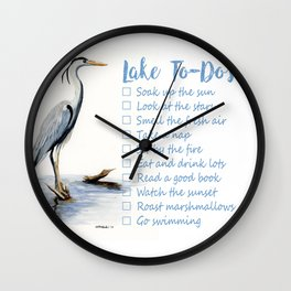 Lake to-do list, cottage sign Wall Clock