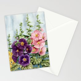 New Mexico Hollyhocks Watercolor Stationery Cards