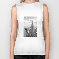 new york skyline Biker Tanks featuring New York Skyline by KARNATARKA