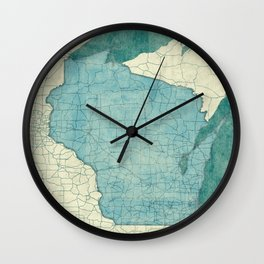 Wisconsin State Map Blue Vintage Wall Clock