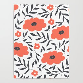 Red and Black Flowers Poster