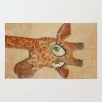 funky Area & Throw Rugs featuring funky giraffe by Ancello