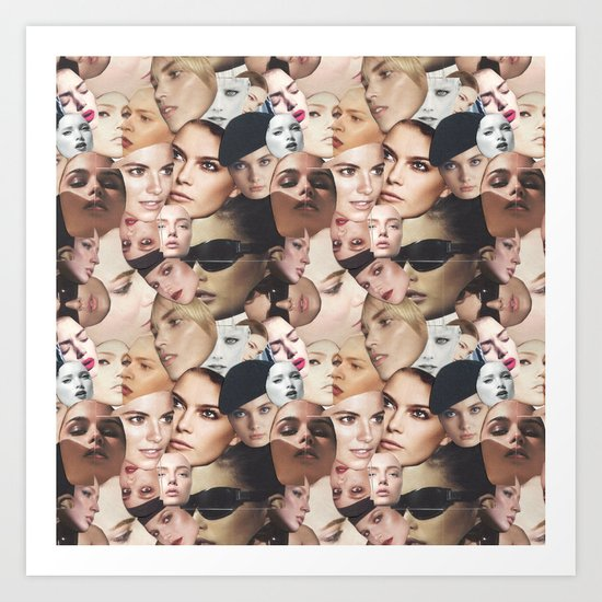 GIRL FACE PATTERN Art Print
