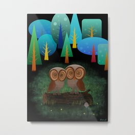 Owl Pals In The Forest Metal Print