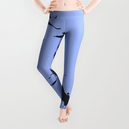 Silhouette Of A Flock Of Seagulls Over Water Vector Leggings