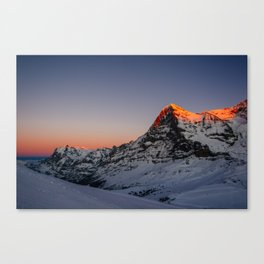 Sunset view from Lauberhorn with Wetterhorn and Eiger mountain peak Canvas Print