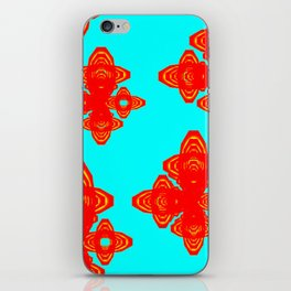 Retro Red Decorative Shapes on Turq Background iPhone Skin
