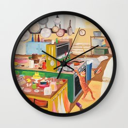 A Cat in the Kitchen Wall Clock