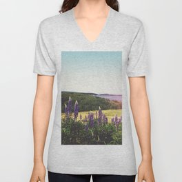 Lupine Flowers of the Maritimes Unisex V-Neck