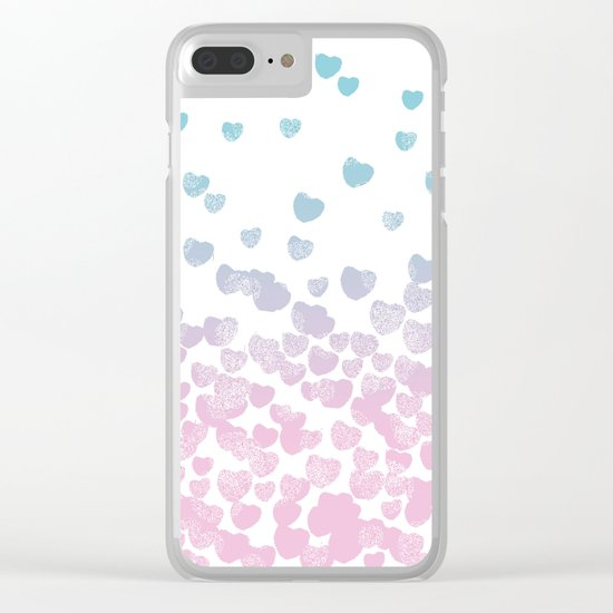 Hearts falling ombre blue and pastel pink cotton candy wonderland Clear iPhone Case