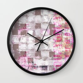 Abstract grunge Squares pating with typography Wall Clock