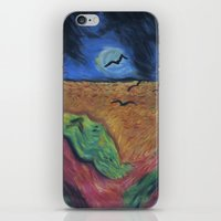 calvin hobbes iPhone & iPod Skins featuring Crows Over A Wheat Field and Calvin by Sharon Marta