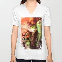 smoking V-neck T-shirts featuring No Smoking by Vincent Vernacatola