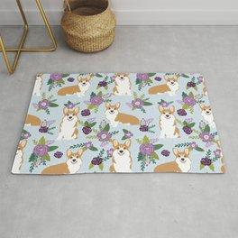 Corgi Floral Print - blue, purple, floral, spring, girls feminine corgi dog Rug