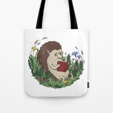 Hedgehog Reading A Book Tote Bag