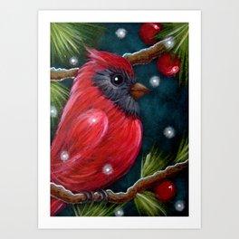 HOLIDAY RED CARDINAL  BIRD & SNOW Art Print