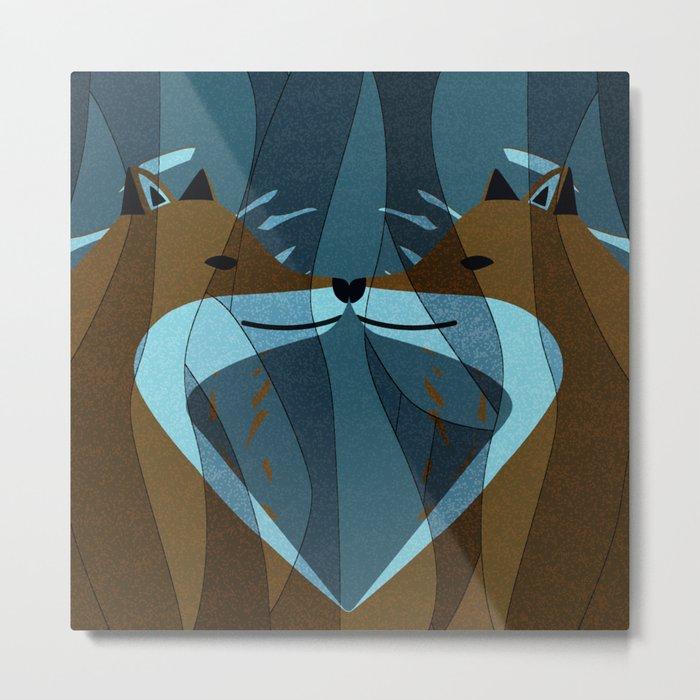 Gorgeous Foxes Kiss Design Metal Print