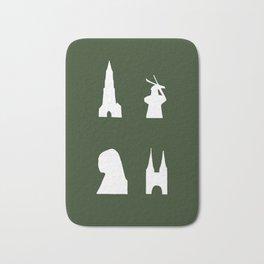 Delft silhouette on green Bath Mat