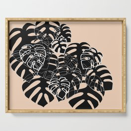 Monstera leaves black and nude Serving Tray