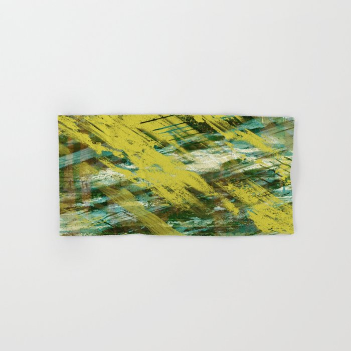 Hidden Meaning - Abstract, oil painting in yellow, green, blue, white and brown Hand & Bath Towel