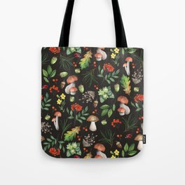 Watercolor Forest Mushrooms, Leaves, Flowers Tote Bag