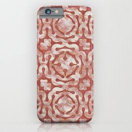 Pink and gold marble mosaic pattern iPhone Case