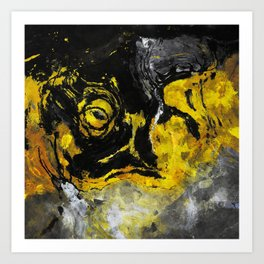 Yellow and Black Abstract Painting Art Print