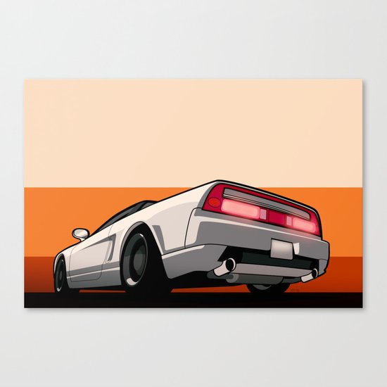 White Honda Acura NSX Canvas Print By Monkeycrisisonmars