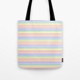 Solid Rainbow Mattress Ticking Narrow Stripes Pattern Tote Bag