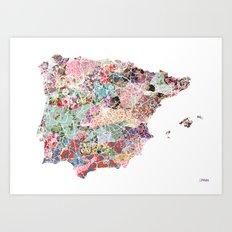 Spain map flowers composition Art Print