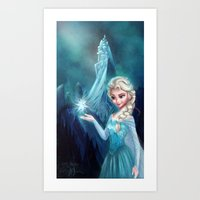 frozen elsa Art Prints featuring Elsa Frozen by This Is Niniel Illustrator