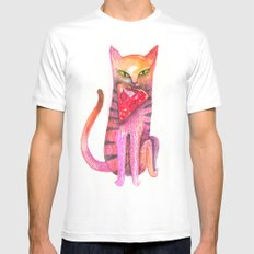pet cat with precious prey White MEDIUM Mens Fitted Tee