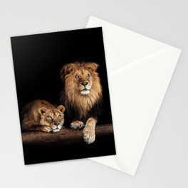 Cute lion and lioness - happy big cat family lie on the wooden log. Beautiful animals photo on dark background Stationery Cards