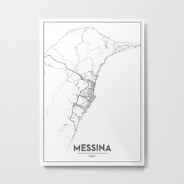 Minimal City Maps - Map Of Messina, Italy. Metal Print