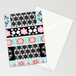 Decorative border Pattern with vivid summer flowers and black and white spectacular shapes Stationery Cards
