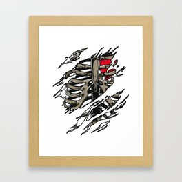 Rib Zombie Rib Cage Showing Skeleton Halloween Scary Light Framed Art Print