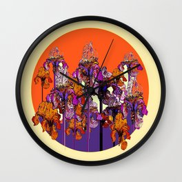 "modern art "" PURPLE & CREAM "" ORANGE IRIS GARDEN Wall Clock"