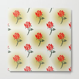 Floral Neck Gator Rose Pattern Metal Print