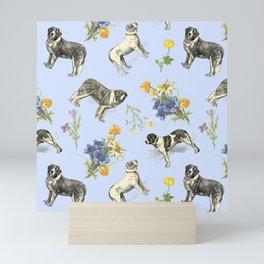 Saint Bernard Dogs & Alpine Flowers - Blue Mini Art Print
