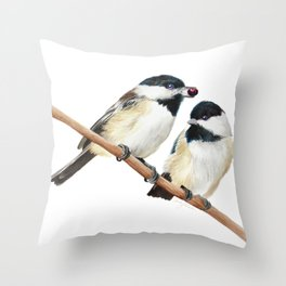 Black Capped Chickadees Throw Pillow