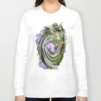 pixies Long Sleeve T-shirts featuring Green Flower fairy by Just Kidding