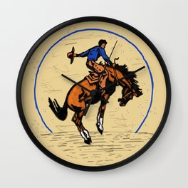 Full Moon Bronc & Cowboy Wall Clock