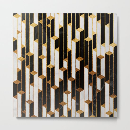 Marble skyscrapers - black, white and gold Metal Print