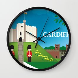 Cardiff, Wales - Skyline Illustration by Loose Petals Wall Clock