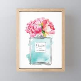 Perfume, watercolor, perfume bottle, with flowers, Teal, Silver, peonies, Fashion illustration Framed Mini Art Print
