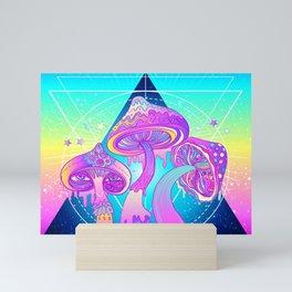 Magic Mushrooms over Sacred Geometry Mini Art Print